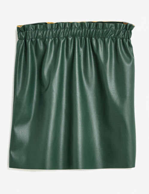Green faux leather skirt with ruched detail