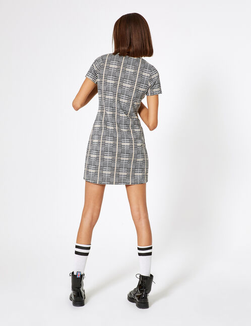 Black and beige checked buttoned dress