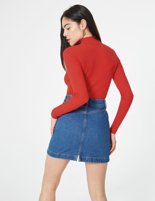 Jupe en jean avec découpes