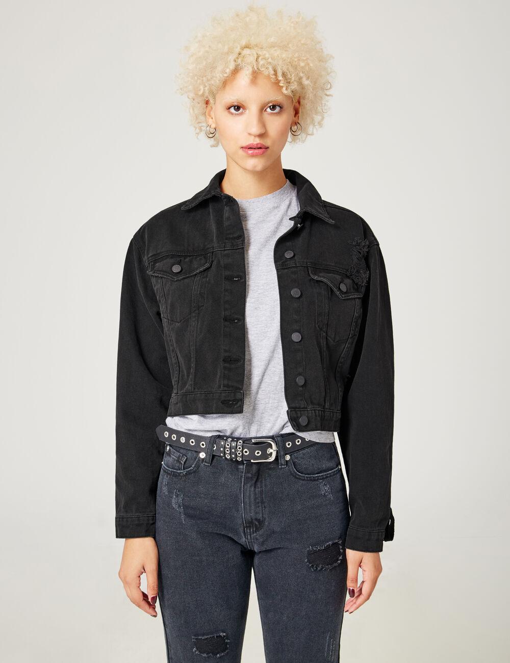 Manteau jean noir femme