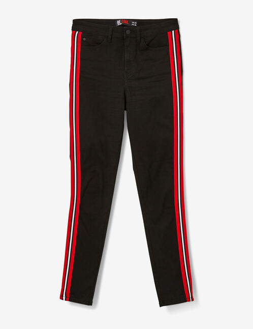 Black trousers with striped trim detail