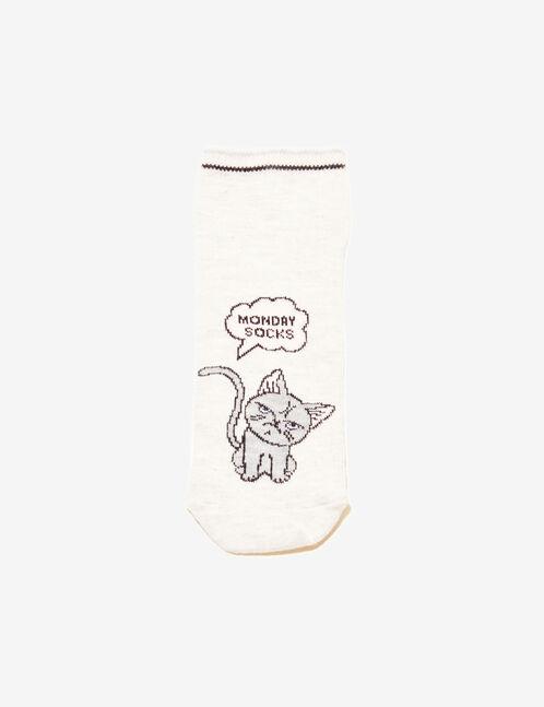 Beige cat design socks