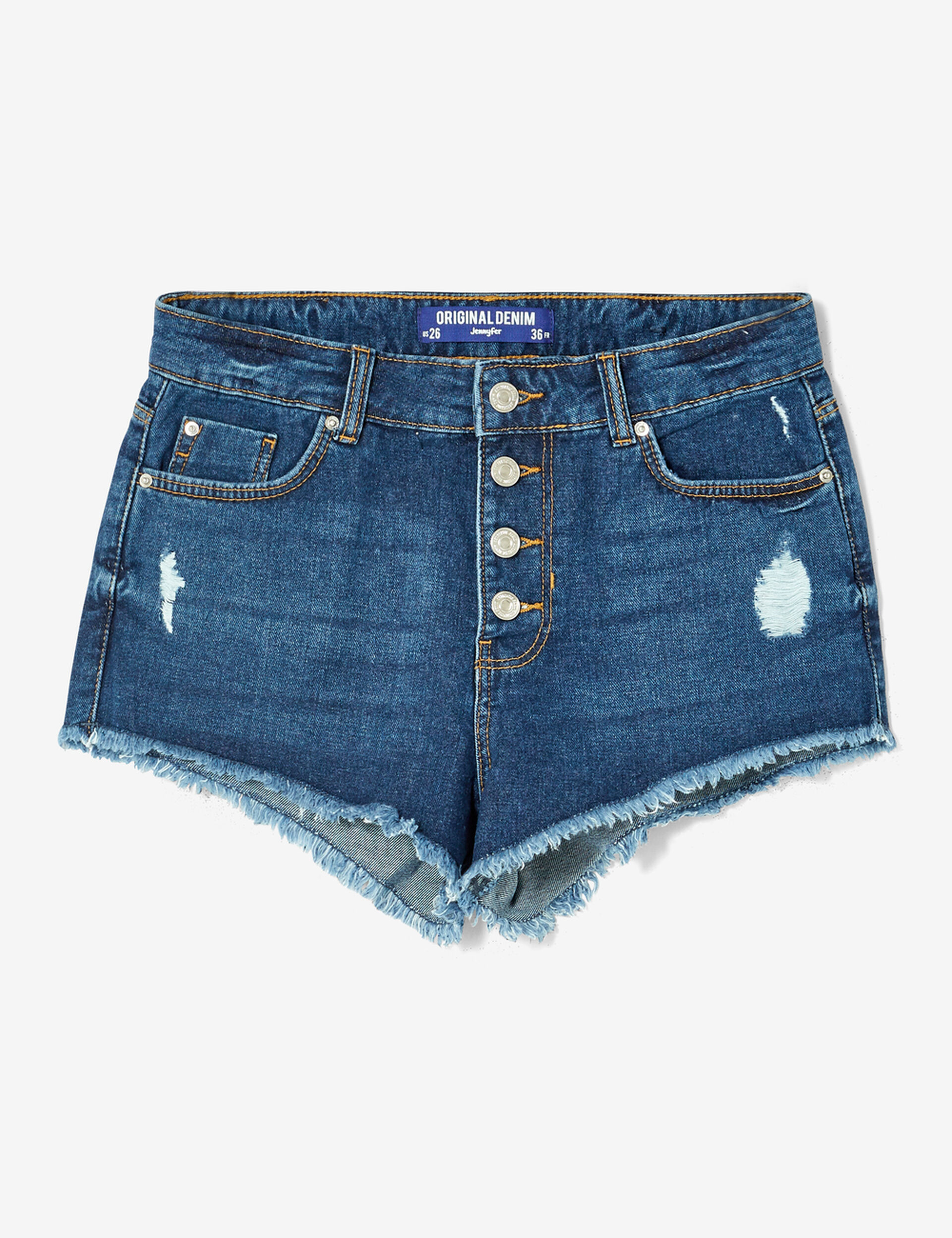 High-waisted medium blue denim shorts