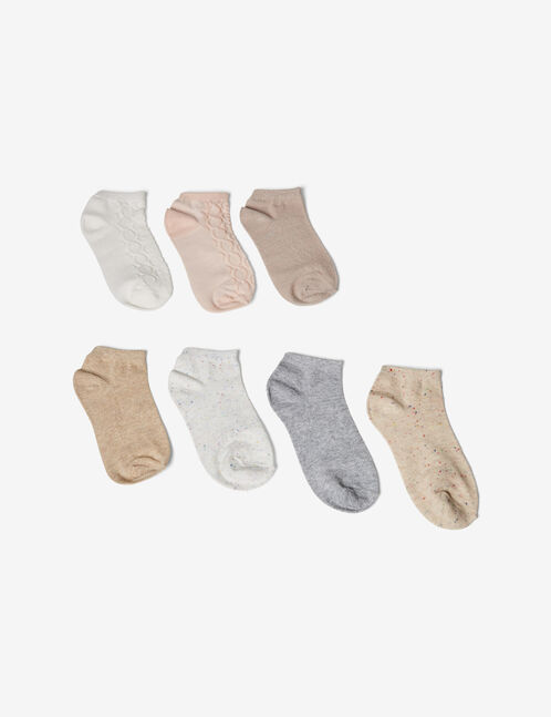 Cream, light pink and grey patterned socks