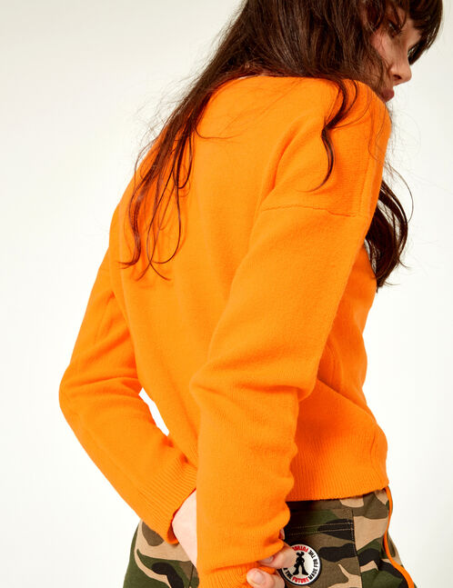 pull toucher cachemire orange