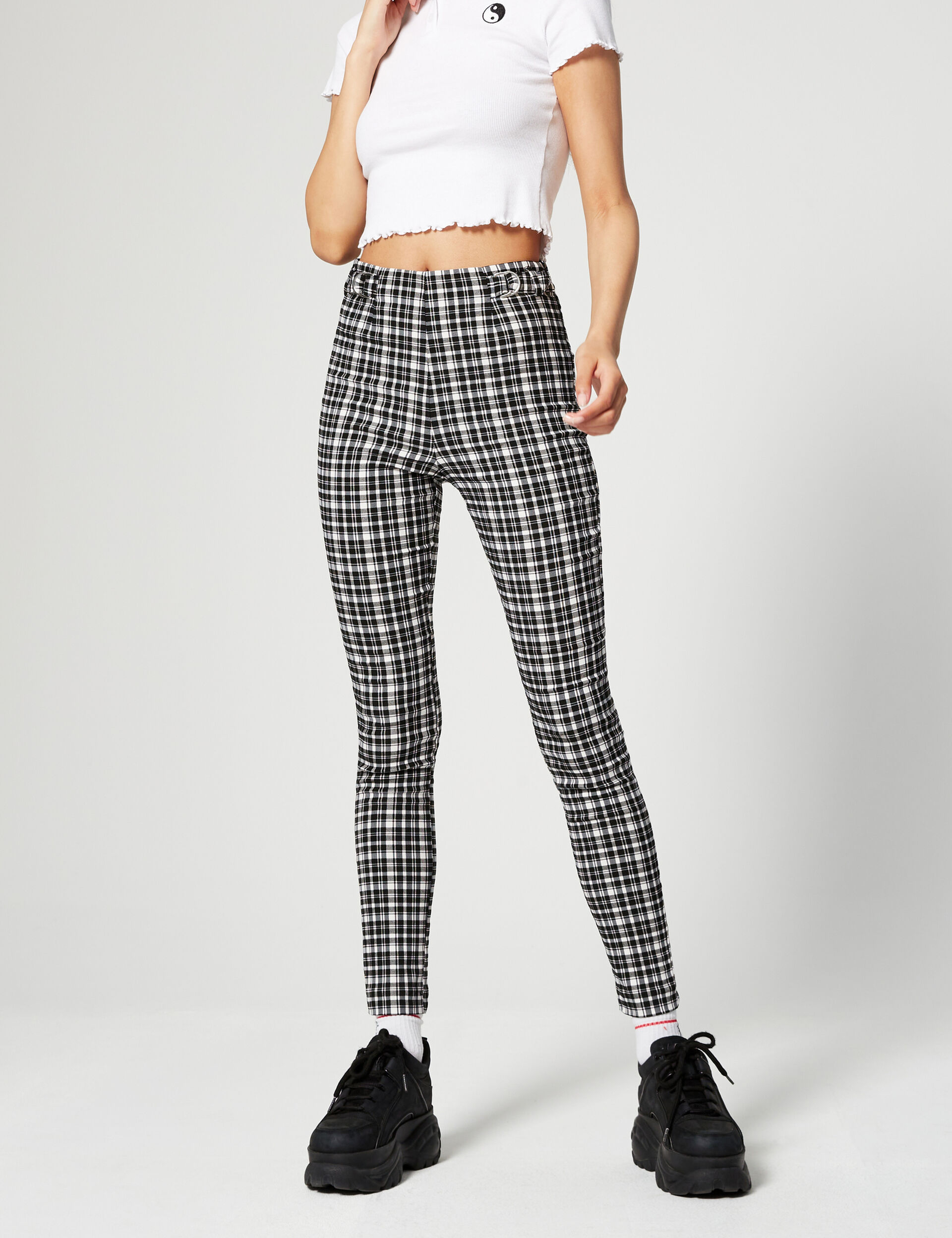 Printed trousers with buckles