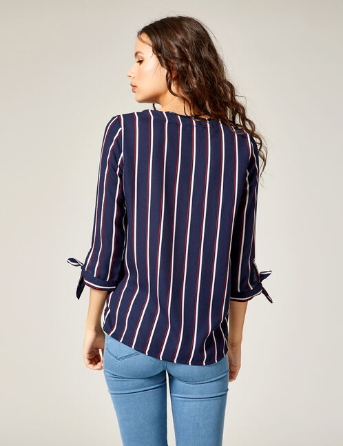 Navy blue, red and white striped V-neck shirt