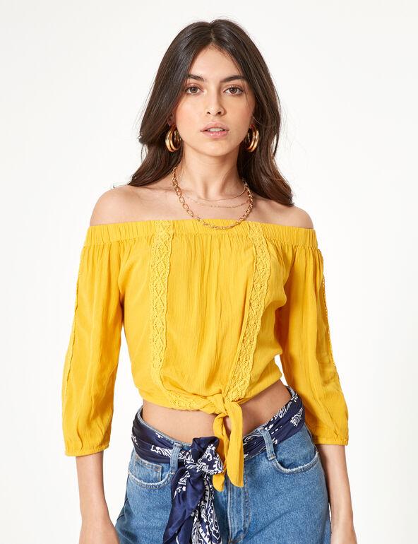 Ochre cold-shoulder blouse