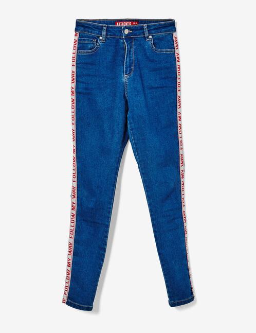 jean avec bandes côtés medium blue et rouge