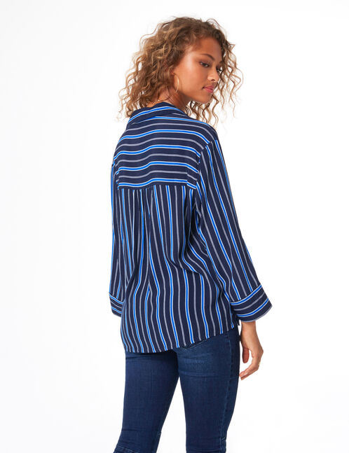 Blue and white striped loose-fit shirt