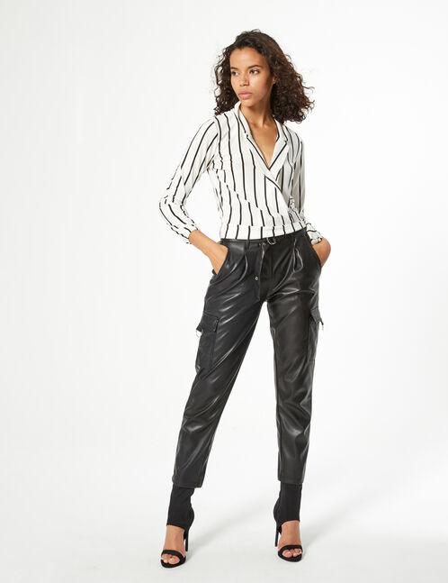 striped tie-fastening blouse