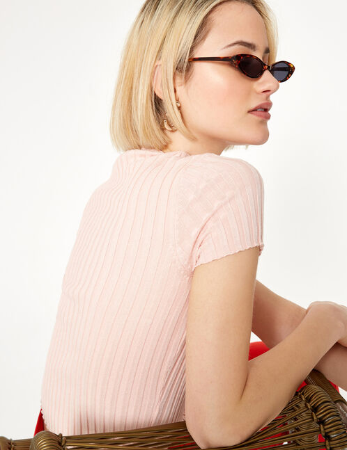 Pink short-sleeved jumper