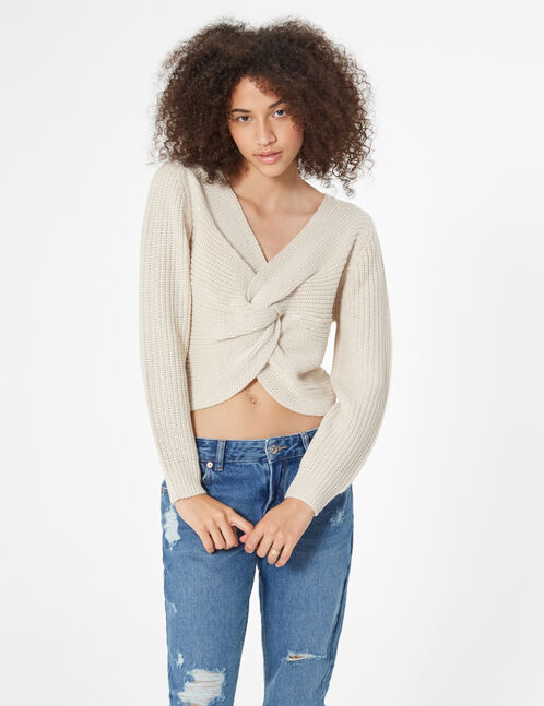 crossover neckline knit jumper