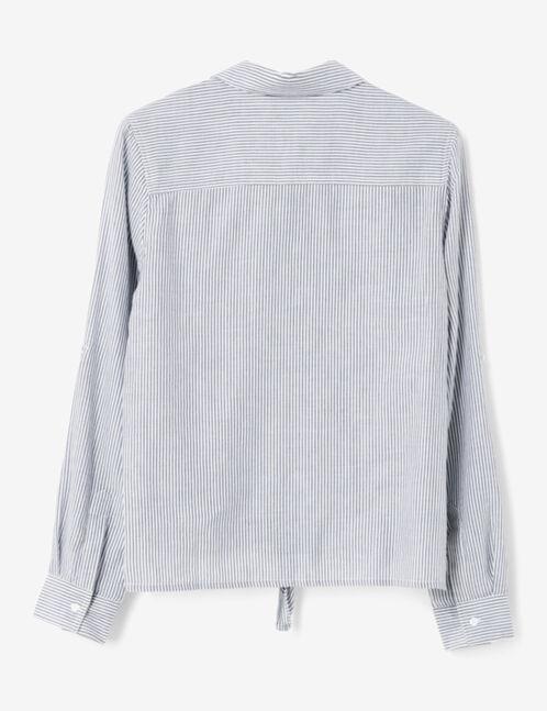 chemise rayée à nouer bleue et écrue