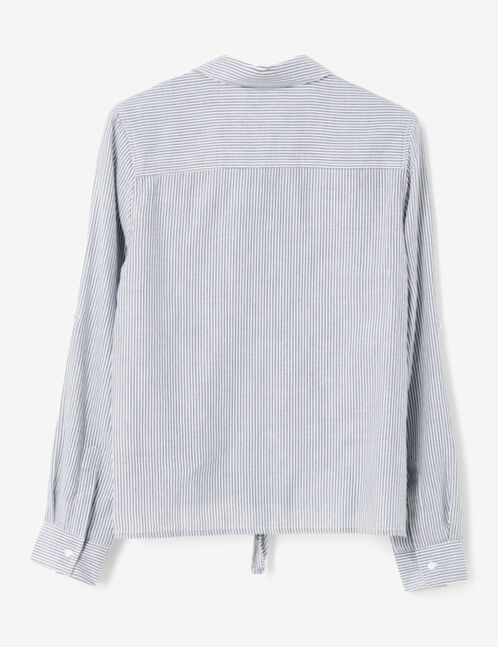 Blue and cream striped tie-fastening shirt