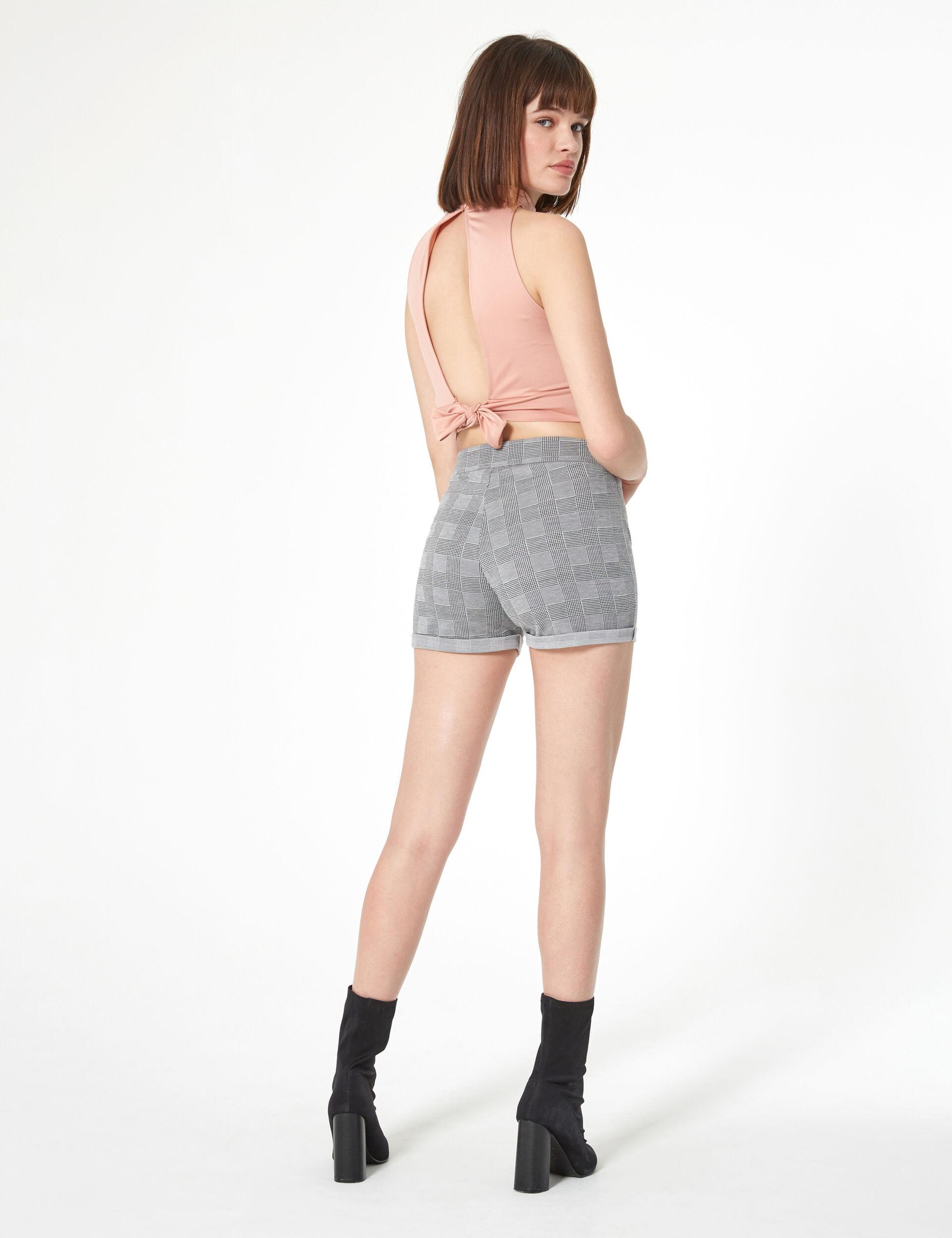 Black and white glen check shorts