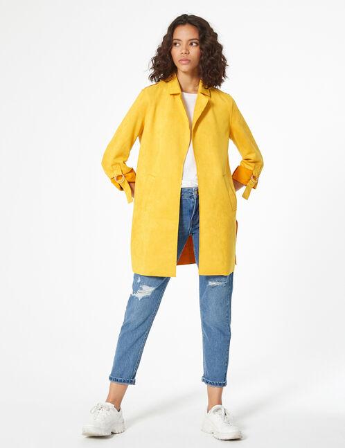long faux-suede jacket