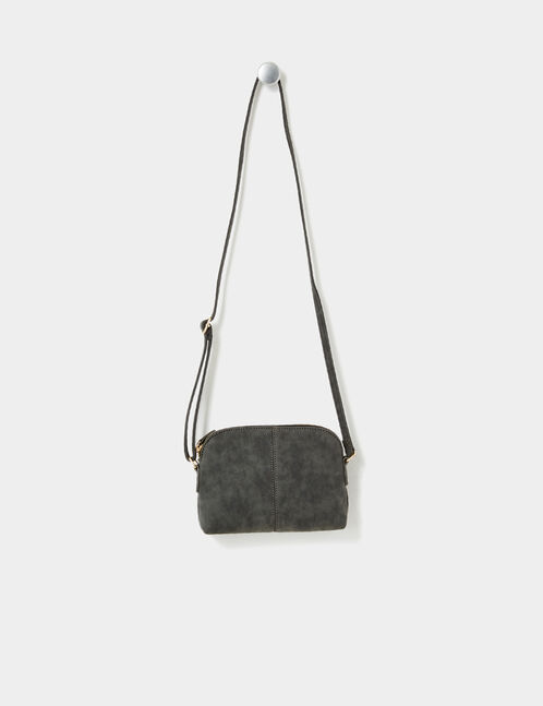 Small grey faux suede cross-body bag