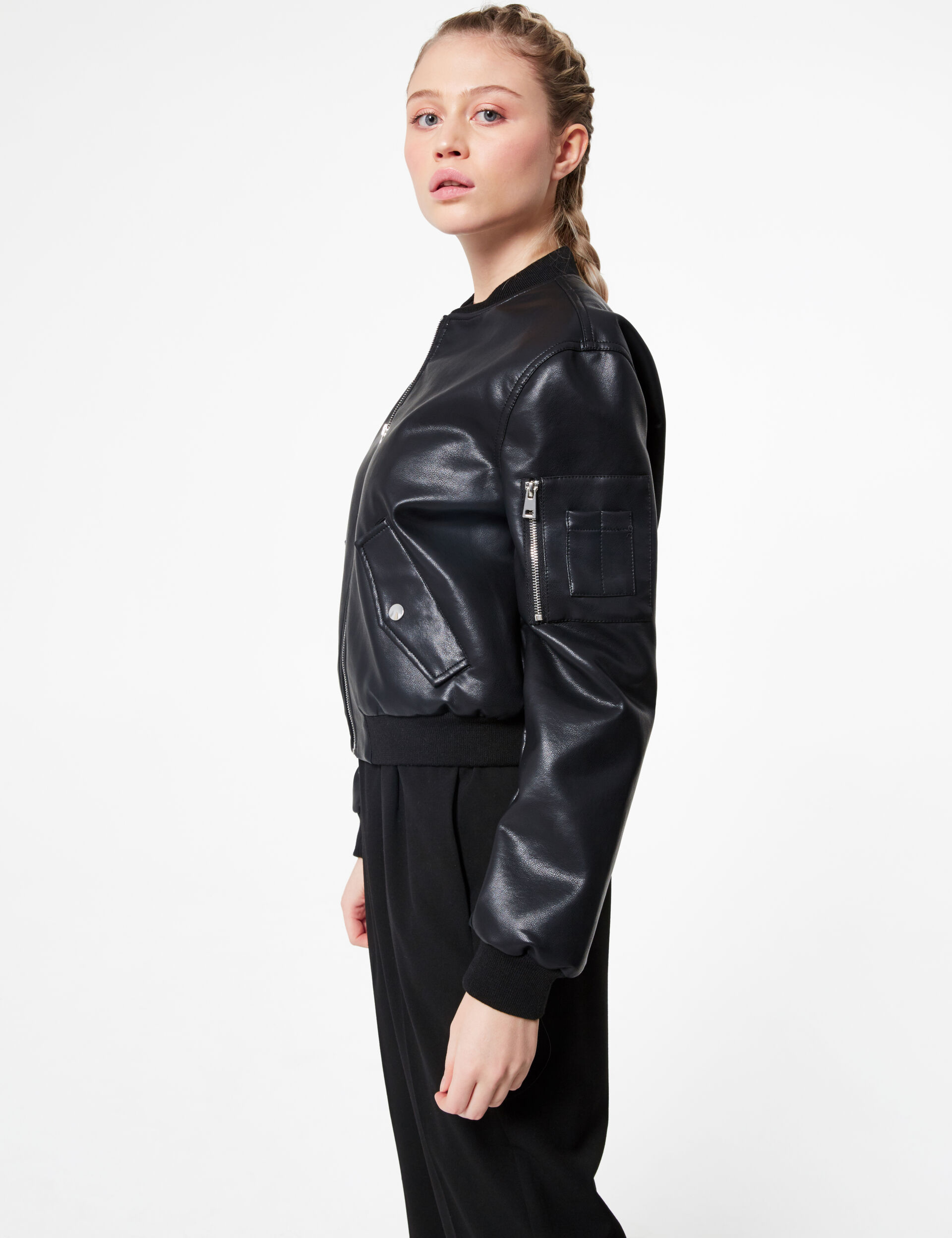 Faux leather bomber