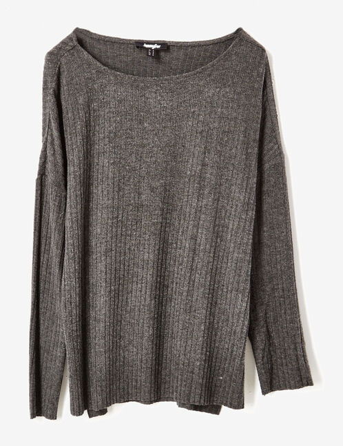 tee-shirt détails boutons gris anthracite chiné