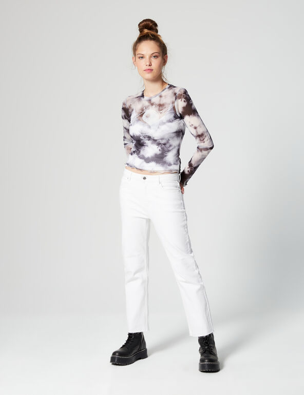 Top mesh tie and dye