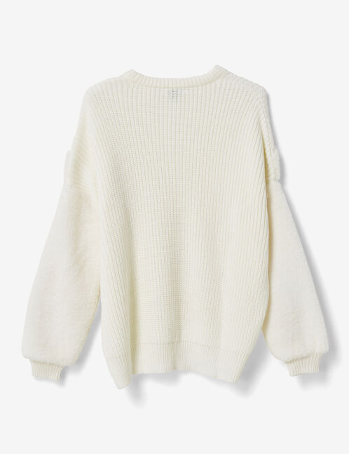 Cream mixed fabric jumper