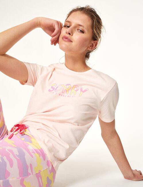 set pyjama à message rose clair, parme et jaune clair