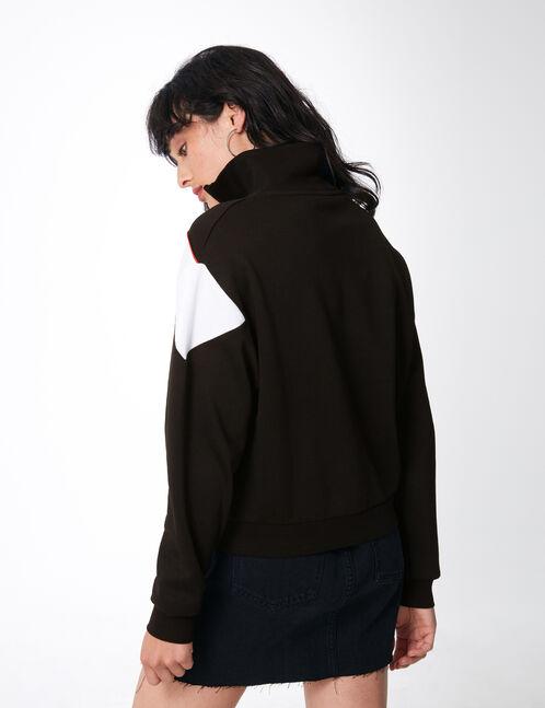 Black zipped sweatshirt with chevron detail