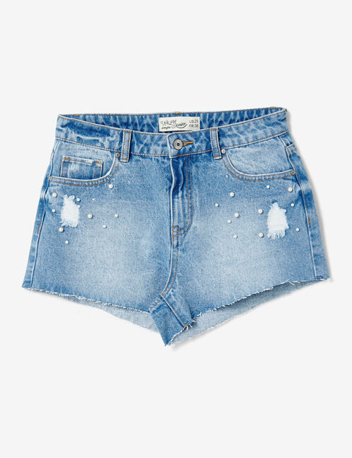 Light blue shorts with beading detail