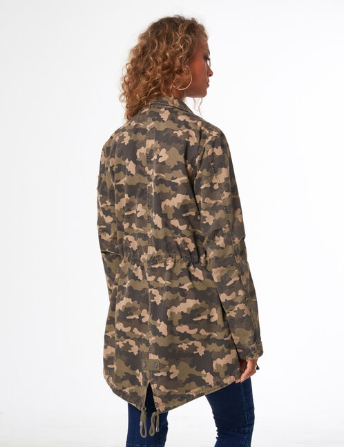 Lightweight khaki and brown camouflage parka