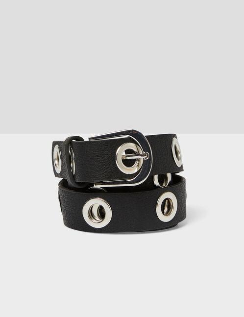 ceinture avec oeillets noire