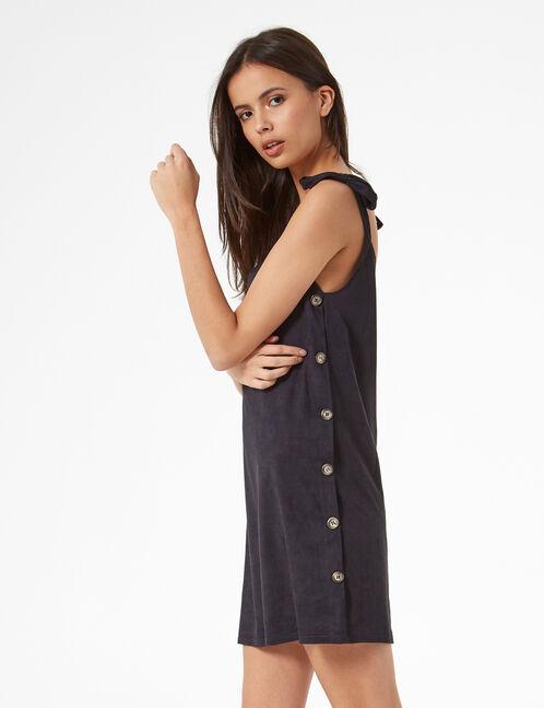 robe en suédine boutonnée