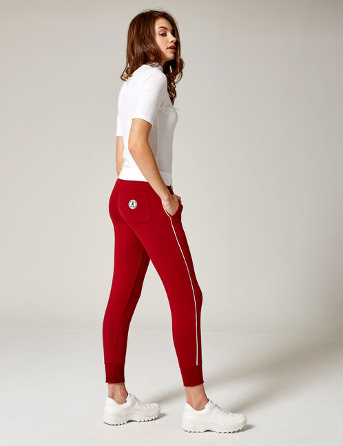 Burgundy and white joggers with trim detail