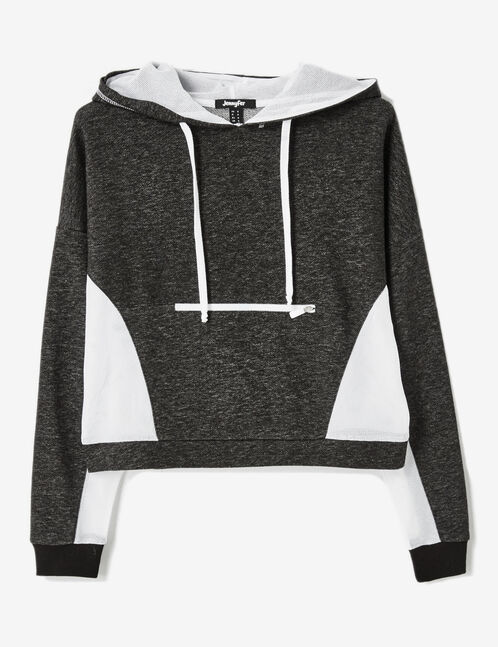 Charcoal grey marl and cream mixed fabric hoodie