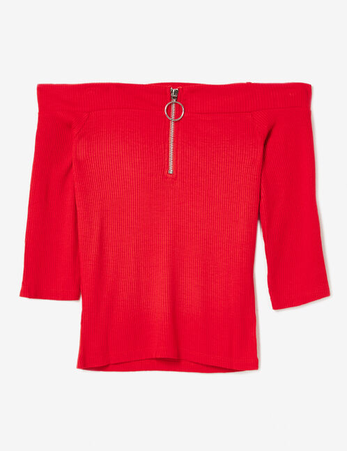 Red off-the-shoulder zipped top