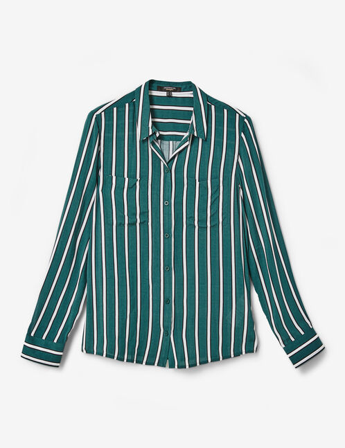 Green, black and white striped shirt