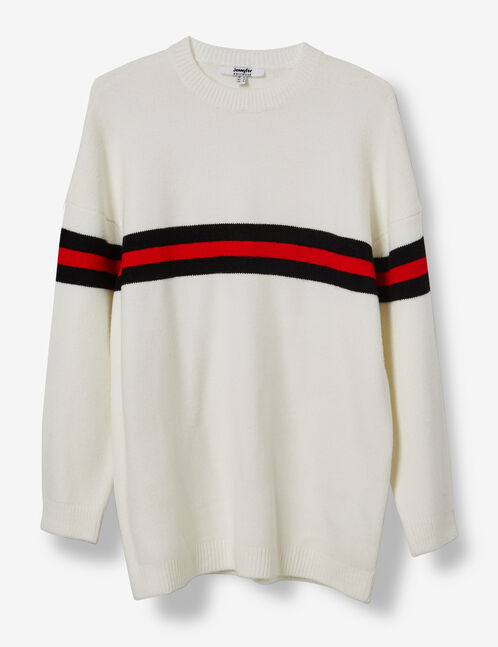 Long cream jumper with stripe detail