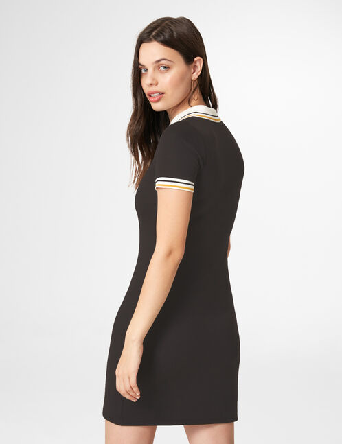 Black zipped polo shirt dress