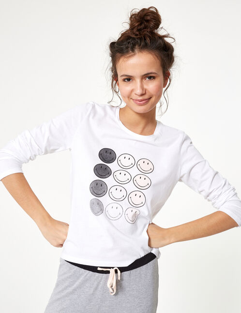 White, grey, light pink and black smiley face pyjama set