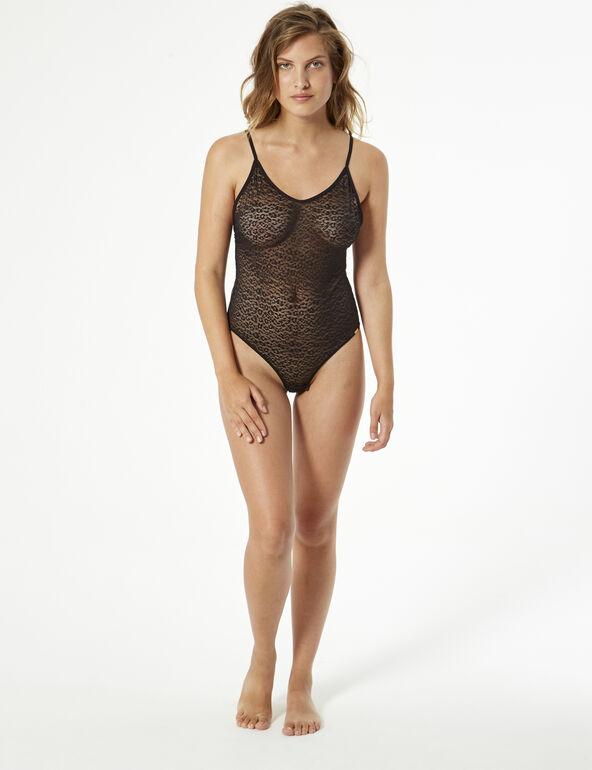 Leopard print mesh bodysuit