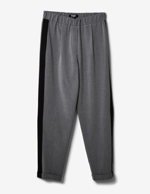 pantalon avec bandes côtés gris chiné