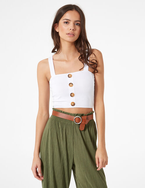 White crop top with button detail