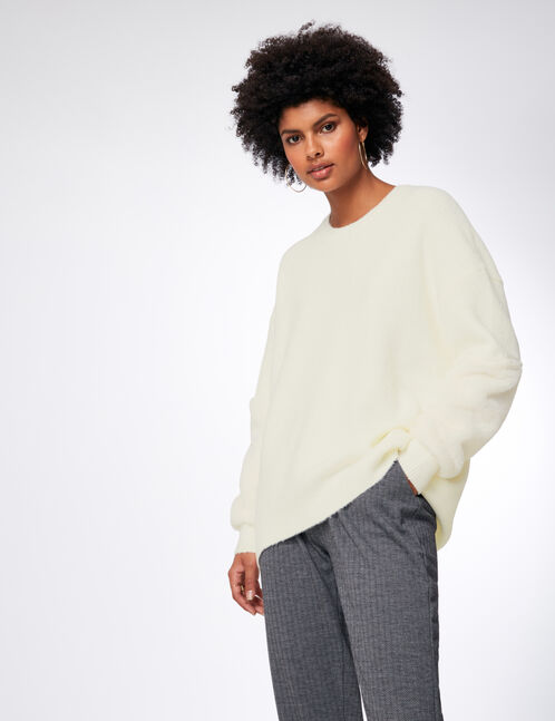 Cream jumper with faux fur detail