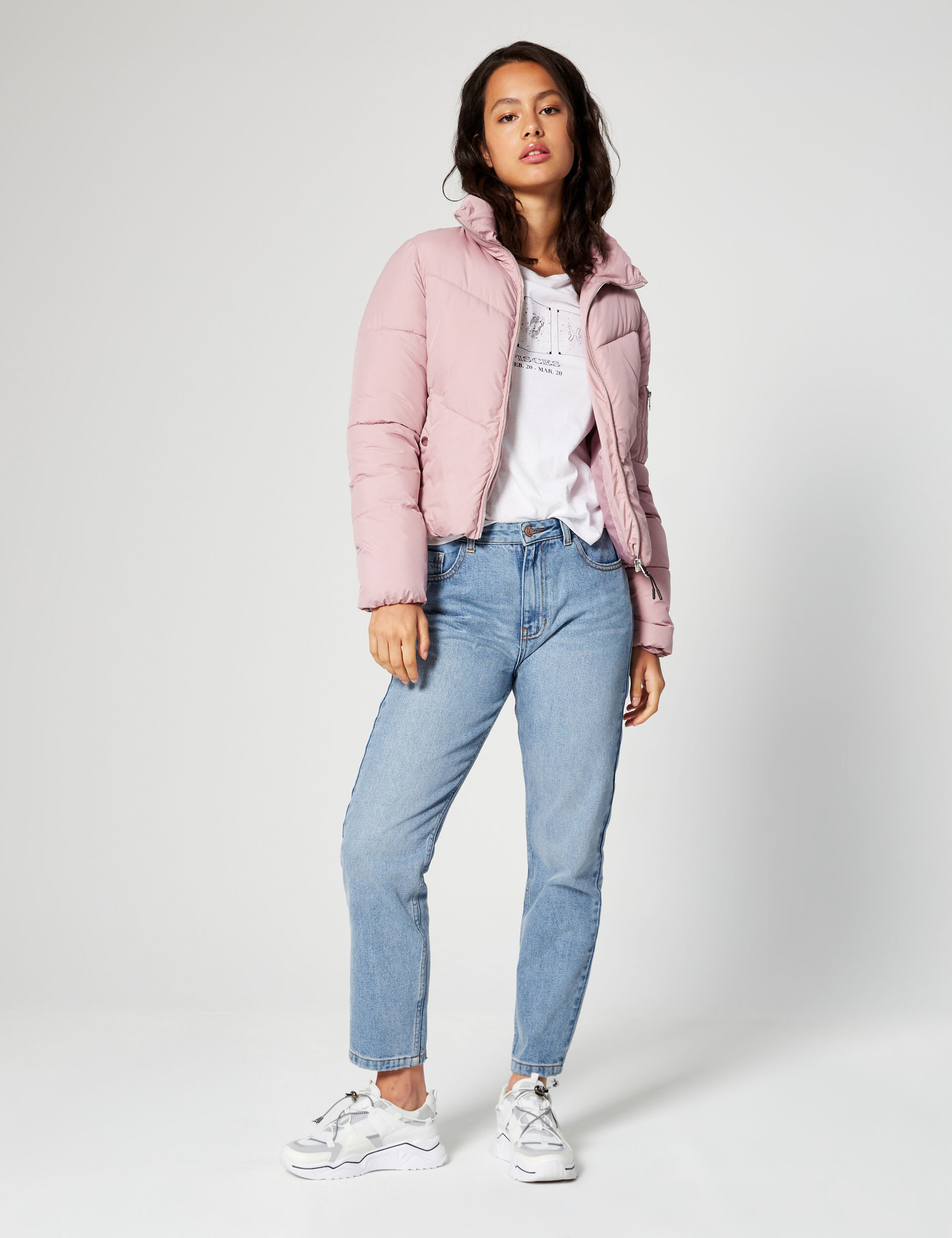 High-necked quilted jacket