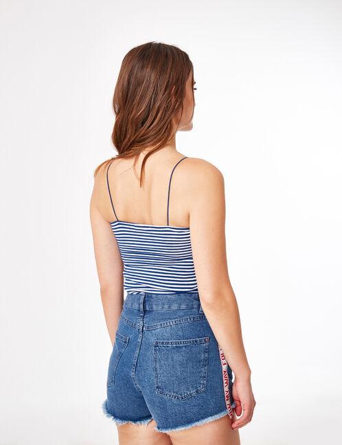 Blue and white stripe spaghetti strap tank top