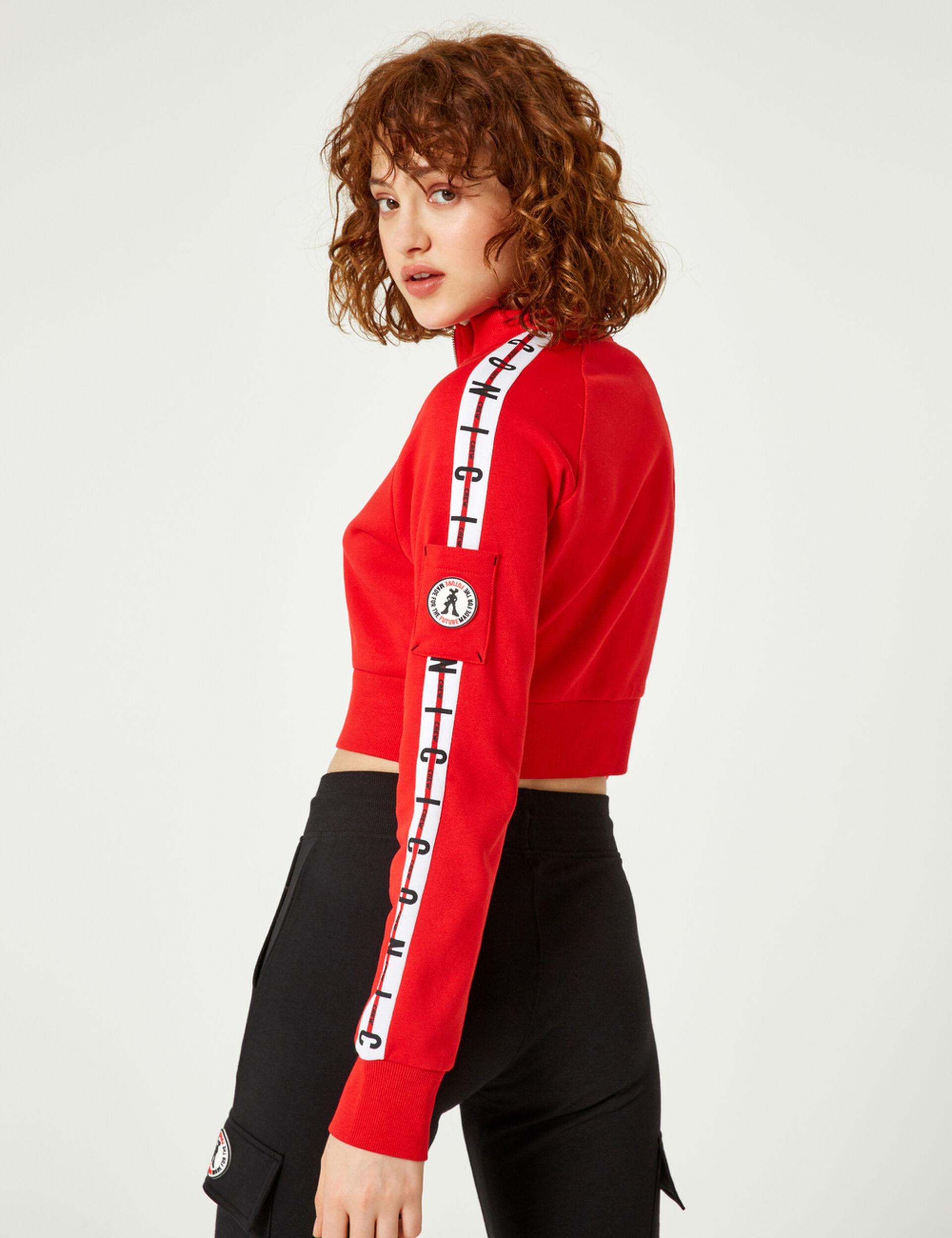 Cropped red zip-up sweatshirt