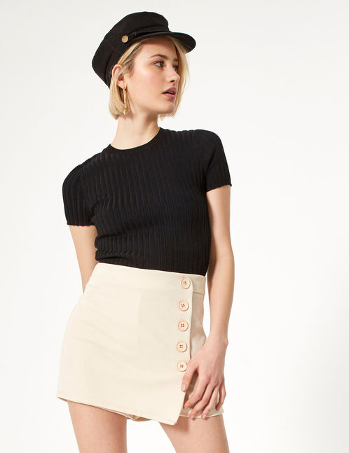 jupe short à boutons beige