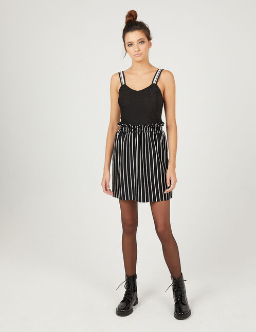 Black and white striped skirt with gathered detail