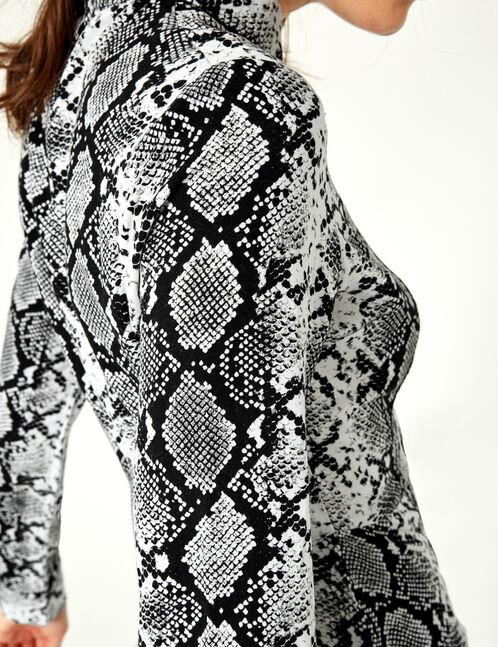 robe chemise avec ceinture python noire et blanche