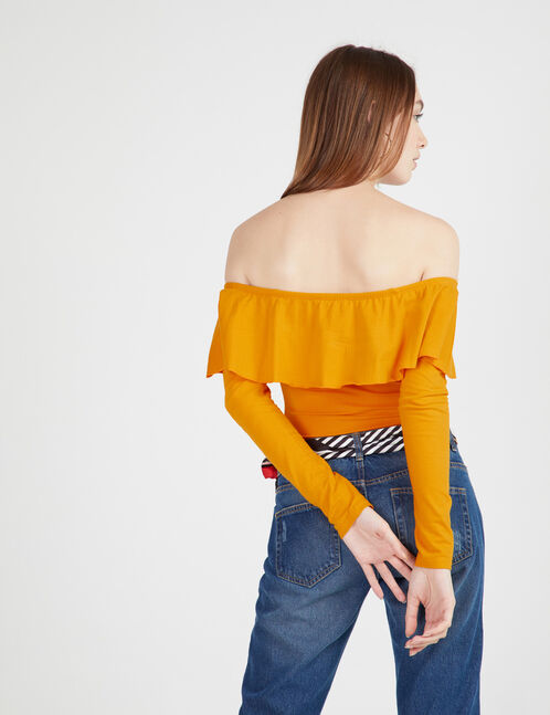 Ochre bodysuit with frill detail
